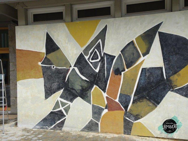 Photographie de l'oeuvre -, de Prassinos. Nature de l'intervention: Retrait des graffitis