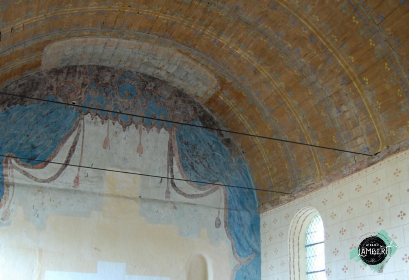 Photographie de l'oeuvre Rideau de retable, de Anonyme. Nature de l'intervention: Dégagement des décors. Restauration fondamentale.