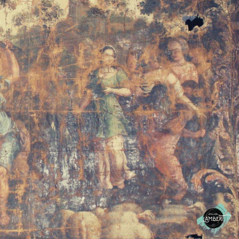 Photographie de l'oeuvre Vie de Moïse, de Peintre cartonnier. Nature de l'intervention: conservation-restauration