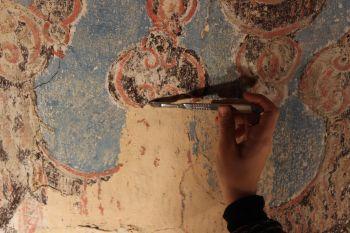 Photographie de l'oeuvre Rideau de retable, de Anonyme. Nature de l'intervention: Dégagement des décors. Restauration fondamentale..