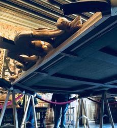 Photographie de l'oeuvre Les Trois Grâces, de Van Loo. Nature de l'intervention: Refixage de la couche picturale. Décrassage. Harmonisation des repeints.